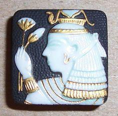 Egyptian Porcelain Button  (Vintage Arita Toshikane Buttons, Cleopatra Image, Egypt, Antique)