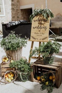 Mallorca Destination Wedding at Biniorella with Greenery Covered Moon Gate Altar and Rembo Styling Wedding Dress by Laura Jaume Photography Wedding Welcome Signs, Wedding Signs, Wedding Themes, Wedding Decorations, Wedding Crates, Rustic Wedding, French Wedding Decor, Wedding Boxes, Rembo Styling