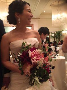 Dalia flower wedding bouquet