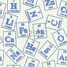 Elementos químicos garabatos en papel cuadriculado escuela, sin patrón photo