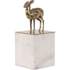 Gold Fawn White Marble Decorative Box ($239) ❤ liked on Polyvore featuring home, home decor, small item storage, gold home accessories, gold home decor and gold box