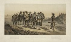 """The March of Miles Standish"" lithograph by Joseph E. Baker circa 1873. With the help of Hobamak, the Mayflower pilgrims went on a rescue mission to save Squanto after he was taken prisoner by a sachem named Corbitant at the nearby village of Nemasket in 1621. #puritains #squanto"