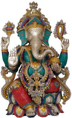 Lalitasana Ganesha, Brass Brass Statue with Inlay Jai Ganesh, Ganesh Statue, Shree Ganesh, Lord Ganesha, Om Gam Ganapataye Namaha, Ganesha Pictures, Ganesh Images, Brass Statues, Ganpati Bappa