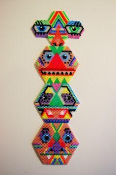 Perler bead totem by Kids do Art