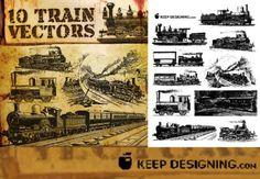 old european train vector