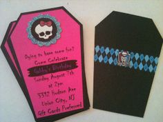 Monster High Invite by ThePartyFox on Etsy Cumple Monster High, Monster High Birthday, Monster High Party, 5th Birthday Party Ideas, 7th Birthday, Monster High Invitations, Party Invitations, Party Mottos, Partys