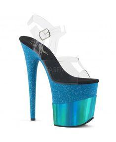 PLEASER Sexy 8 Heel Blue Glitter Hologram Platform Ankle Strap Stripper Shoes - Hologram Shoes - Ideas of Hologram Shoes Pole Dance, Dance Gear, High Heels Boots, Sexy High Heels, Rave Shoes, Corset, Stripper Heels, Ankle Strap Shoes, Only Shoes