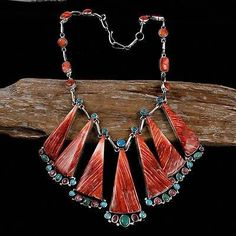 "Clarissa Hale (Navajo) ""Santa Fe Sunset"" Necklace. Spiny oyster, gemstones and sterling silver"