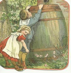 Ot and Sien and the Rainbarrel, Schoolplate Cornelis Jetses Vintage Book Art, Vintage Tags, Vintage Postcards, Vintage Prints, Vintage Illustration, Old Cards, Dutch Artists, The Old Days, Historical Pictures