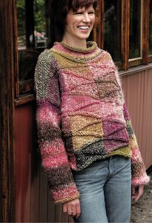 The back and front of this wide panelled pullover each comprise four panels. The diagonal pattern is created through the use of short rows in the stockinette stitch areas.