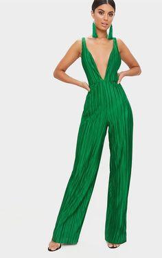 3b2e0092bd Green Plisse Plunge Strappy Jumpsuit