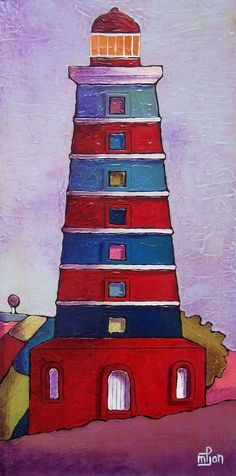 'Phare(lighthouse)-18' Painting  30x60 cm modern-color-seascape © 2012 by marie-pierre JAN♥♥