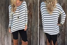 The perfect slouchy fall top! Throw it on with some jeans and a jacket for day or dress it up with leggings and boots for night. You've got to add this versatile stripped top to your wardrobe!