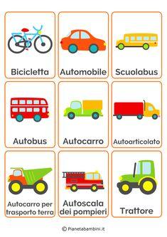 18 carte tematiche per bambini dedicate ai mezzi di trasporto da stampare in PDF…