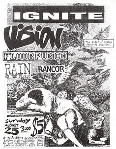 Ignite,Vision, Floorpunch, Rain on the Parade, Rancor punk hardcore flyer