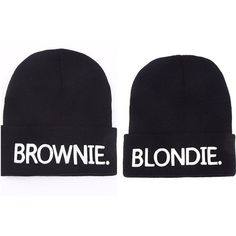 Blondie and Brownie BFF Beanies ($15) ❤ liked on Polyvore featuring accessories, hats, beanie cap hat, beanie hat and beanie cap