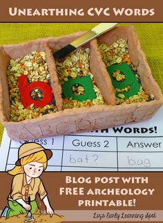 Super fun CVC words activity for little archeologists and explorers! Full instructions. (Liz's Early Learning Spot)
