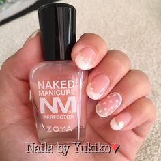 """Via @nailsbyyukiko Fun design done with the Naked Manicure Women's nails perfecting kit! #nakedmanicure #frenchtip #zoya #nailart #nailsbyyukiko"""
