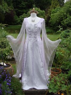Bespoke one off Lilac fairy elven  lotr renaissance medieval pagan  wedding dress / handfasting gown UK 8 to 14 / US 6 to 12 on Etsy, $384.00