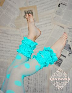Girls Ruffle tights in light teal polka dot by ISADORAKIDS on Etsy, $19.99