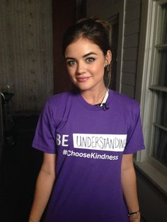 Lucy Hale is wearing purple to support LGBT youth for GLAAD's Spirit Day! #ChooseKindness #BeInspired | Pretty Little Liars