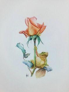 golden rose and frog original watercolor painting