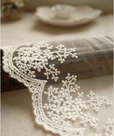 cotton embroidery Applique lace trim white mesh embroidery 12cm