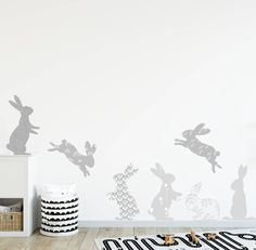 Are you interested in our grey rabbit wall stickers? With our rabbit fabric wall stickers you need look no further. Wall Stickers Girl Bedroom, Baby Wall Stickers, Nursery Wall Murals, Nursery Wall Stickers, Childrens Wall Stickers, Nursery Room, Boy Room, Girl Nursery, Baby Bedroom