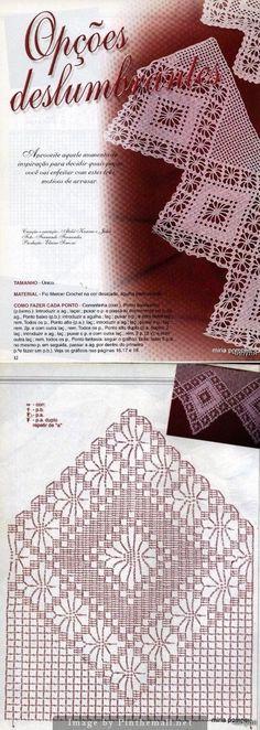 Filet crochet edging spider ~~ Crochet magazine: Barradinhos em crochê ~~ http://make-handmade.com/2011/07/06/crochet-edging-magazine/