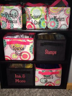 Littles carry all caddy #3401 $15 Your way cube #4119 $42 Your way junior cube #4166 $36 Add a lid for $12 Embroidery is $7 ($3.50 Until April 30th) CDN Shop direct- www.mythirtyone.ca/Terrilynn