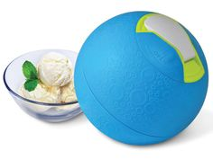 The Kickball Ice Cream Maker makes ice cream while you play with it. The ball has a soft rubber exterior and makes a batch of ice cream in about 20 minutes. Exercise first, reward after!