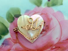 Antique Mother of Pearl Shell Heart Shape Pin Brooch Gold Wire G Initial by Holliezhobbiez on Etsy