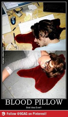 Freak out the people you love with this awesome blood pillow.