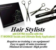 wanting to use wraps in your salon or refer them to https://www.facebook.com/canterbury.itworks for more information