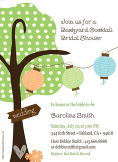 Fall or Summer Shower or Party invitations with Tree by pepperdot, $16.00