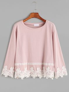 Shop Pink Drop Shoulder Appliques T-shirt online. SHEIN offers Pink Drop Shoulder Appliques T-shirt & more to fit your fashionable needs. Girls Fashion Clothes, Teen Fashion Outfits, Hijab Fashion, Fashion Dresses, Stylish Dress Designs, Designs For Dresses, Stylish Dresses, Beautiful Outfits, Cute Outfits