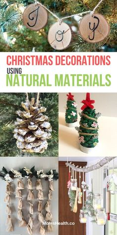 15 Best Christmas Decorations Made From Natural Materials Are you looking for the best ideas of Christmas decorations made from natural materials? I have an amazing collection here of DIY Christmas decor using twigs, pine codes, wood, etc. Driftwood Christmas Tree, Pine Cone Christmas Tree, Christmas Mason Jars, Rustic Christmas, Christmas Tree Decorations, Christmas Tree Ornaments, Christmas Crafts, Holiday Decor, Christmas Ideas