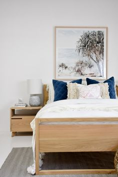 Our Dani Bed and Freja Bedside Tables both in American Oak. Furniture, interior decor and lifestyle store. Custom made timber furniture and joinery handcrafted onsite in adjoining workshop. 23 Kayleigh drive Maroochydore Qld. Photography and styling by RAW Sunshine Coast