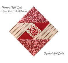 Farmer's Wife Quilt {the start of a new obsession} – Material Girl Quilts attic windows Farmers wife quilt blocks in red and white If you've been around the quil In our Quilting for Beginners Lesson, Jennie Rayment shows us how to cut strips, cut sq Quilting Blogs, Quilting Projects, Quilting Designs, Quilt Block Patterns, Pattern Blocks, Quilt Blocks, Farmers Wife Quilt, Red And White Quilts, Girls Quilts