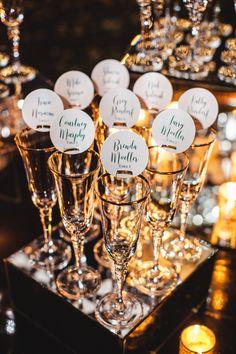champagne escort cards, escort card display, modern escort card display, green and gold wedding