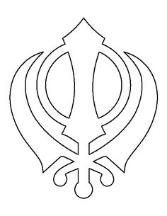 The Khanda, a very nice Sikhism design which has three symbols within it, which are representative of swords to show their gods power and authority and the circle to represent the god who has no beginning or end. Doodle Art Drawing, Drawing For Kids, Art For Kids, Free Shapes, Cool Coloring Pages, Madhubani Painting, Religious Art, Painted Signs, Easy Drawings