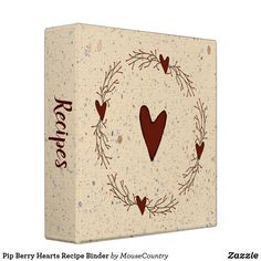 Pip Berry Hearts Recipe Binder by MousefxArt.Com (Mousefx Zazzle Store)