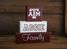 Texas A & M Aggie Family Blocks Shelf Decor by KRCustomWoodcrafts, $25.00