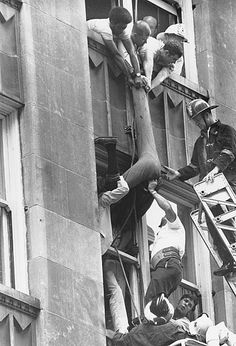 This pic shows window washer Thomas J. Buchanan being rescued from a building on Marietta Street near Five Points on June 11, 1970.