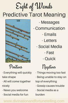The Eight of Wands: Predictive Tarot Card Meanings — Lisa Boswell Eight Of Wands, What Are Tarot Cards, Rider Waite Tarot, Tarot Astrology, Tarot Card Meanings, Tarot Spreads, Tarot Readers, Decks, Astrology