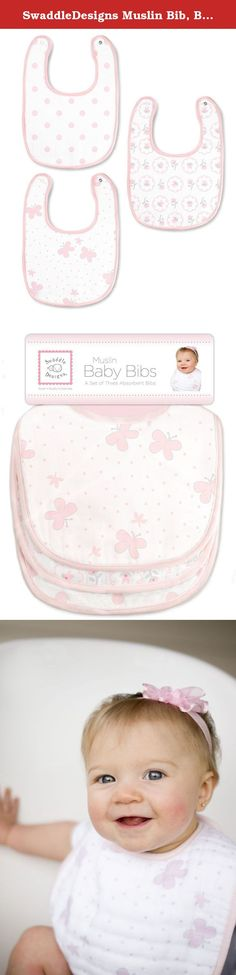 SwaddleDesigns Muslin Bib, Butterflies and Posies (Set of 3 in Pastel Pink). SwaddleDesigns Muslin Bibs are soft, absorbent premium cotton muslin that quickly soaks up any spills, dribbles or drool. This cute essential helps babies stay clean and look stylish. 100% cotton muslin with snap closure, will fit neck sizes up to 13 inches (33 cm). Coordinates with a variety of our quality baby essentials. Set of 3. Machine wash gentle.