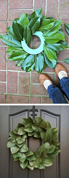 DIY Magnolia Wreath- Magnolia Leaf Wreath Tutorial Gooooood morning sunshines and Merry Thanksgiving! Are you ready to kick off the 30 Days in a Holiday State of Mind series? Today I am sharing a 15 Minute Magnolia Wreath tutorial. Front Door Decor, Wreaths For Front Door, Door Wreaths, Yarn Wreaths, Boxwood Wreath, Floral Wreaths, Magnolia Wreath, Magnolia Leaves, Christmas Wreaths