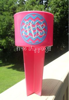 Monogrammed Chevron Sand Spike Beach Cup by customvinylbydesign, $14.00