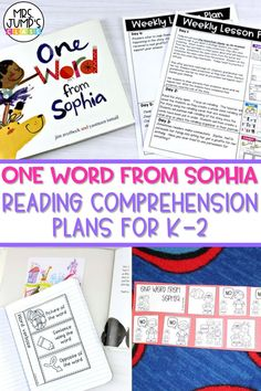 """If you are using """"One Word From Sophia"""" as a read aloud in your elementary classroom, these activities could be a great addition to your reading comprehension plans. Kindergarten through second grade students can complete these """"One Word From Sophia"""" activities to show their understanding of the book."""