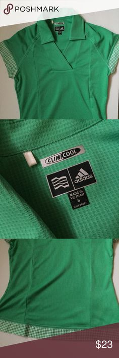 Adidas Clima Cool Golf Shirt Kelly green golf top. Collar with slight v-neck. Green and white pattern detail around the arm hold and waist. Definitely helps keep you cool on those hot days on the course. Worn once. Excellent condition. Size small. Adidas Tops
